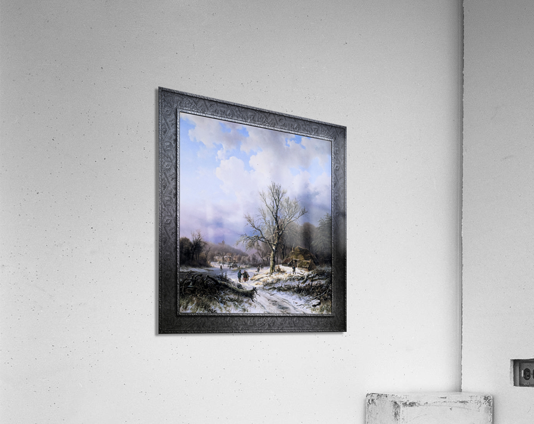 Snow Landscape by Alexander Joseph Daiwaille Classical Art Xzendor7 Old Masters Reproductions  Acrylic Print