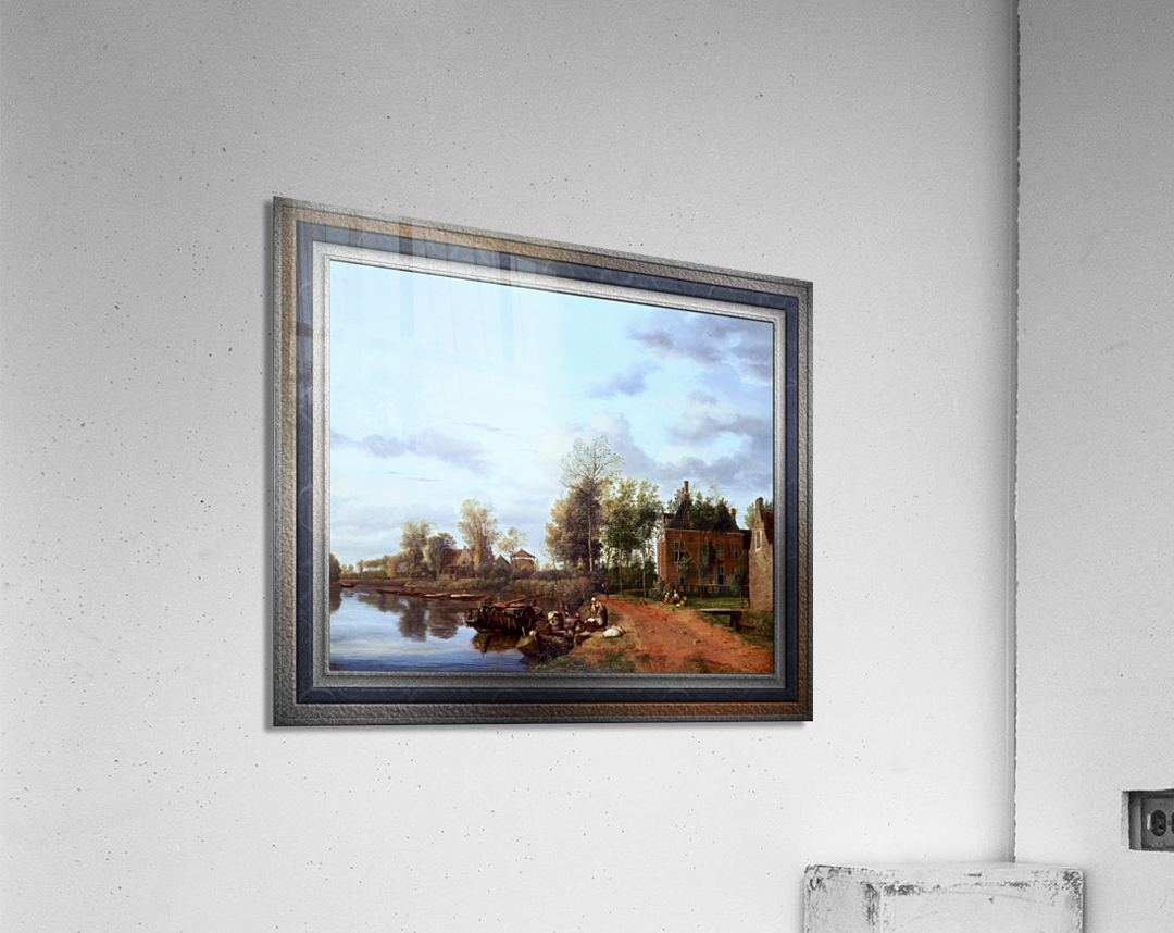 A Country House on the Vliet near Delft by Jan van der Heyden Classical Fine Art Xzendor7 Old Masters Reproductions  Acrylic Print
