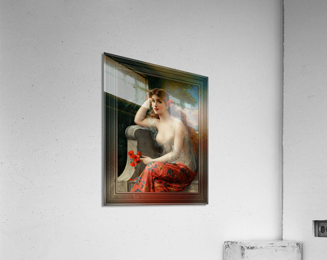 Girl with a Poppy byEmile Vernon Wall Decor Xzendor7 Old Masters Art Reproductions  Acrylic Print