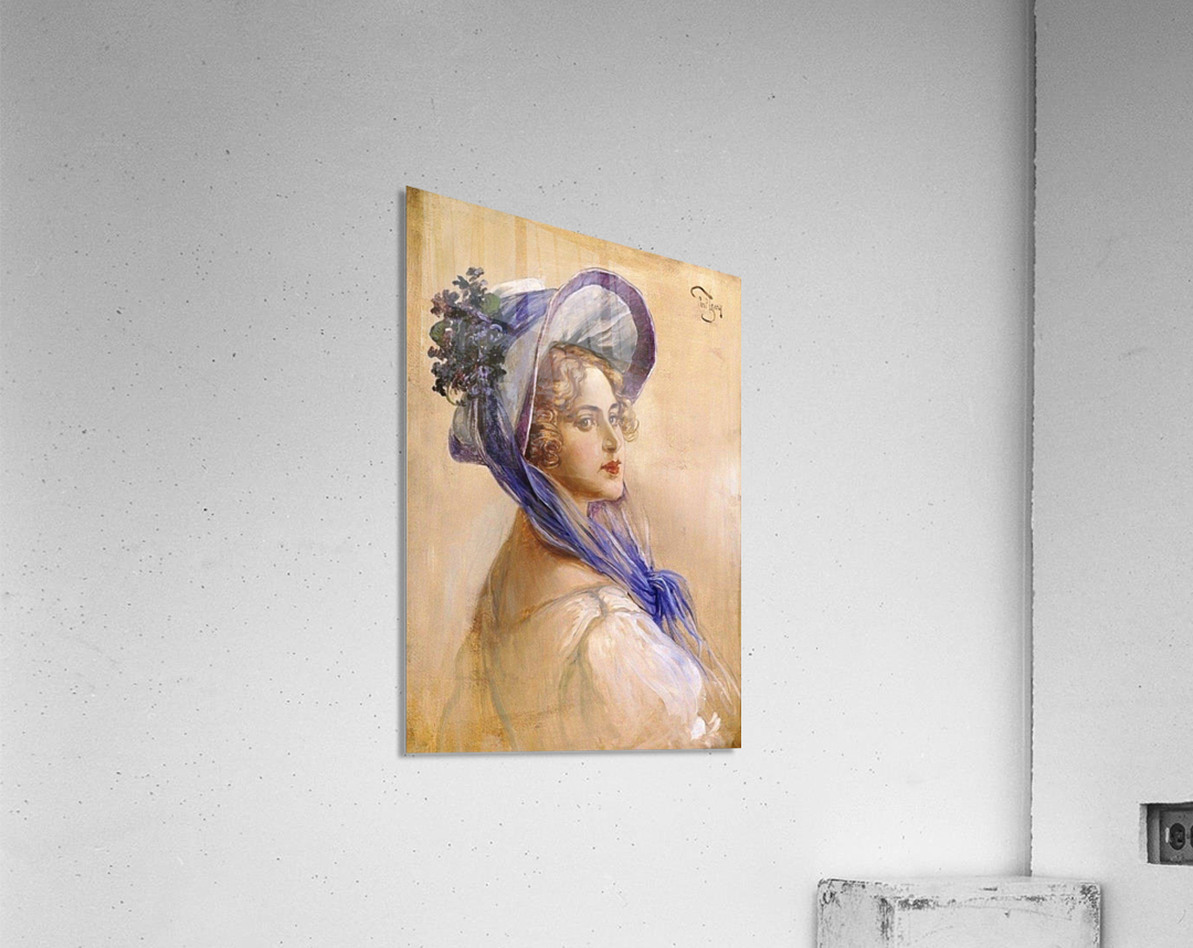 Youbg lady with purple hat  Impression acrylique