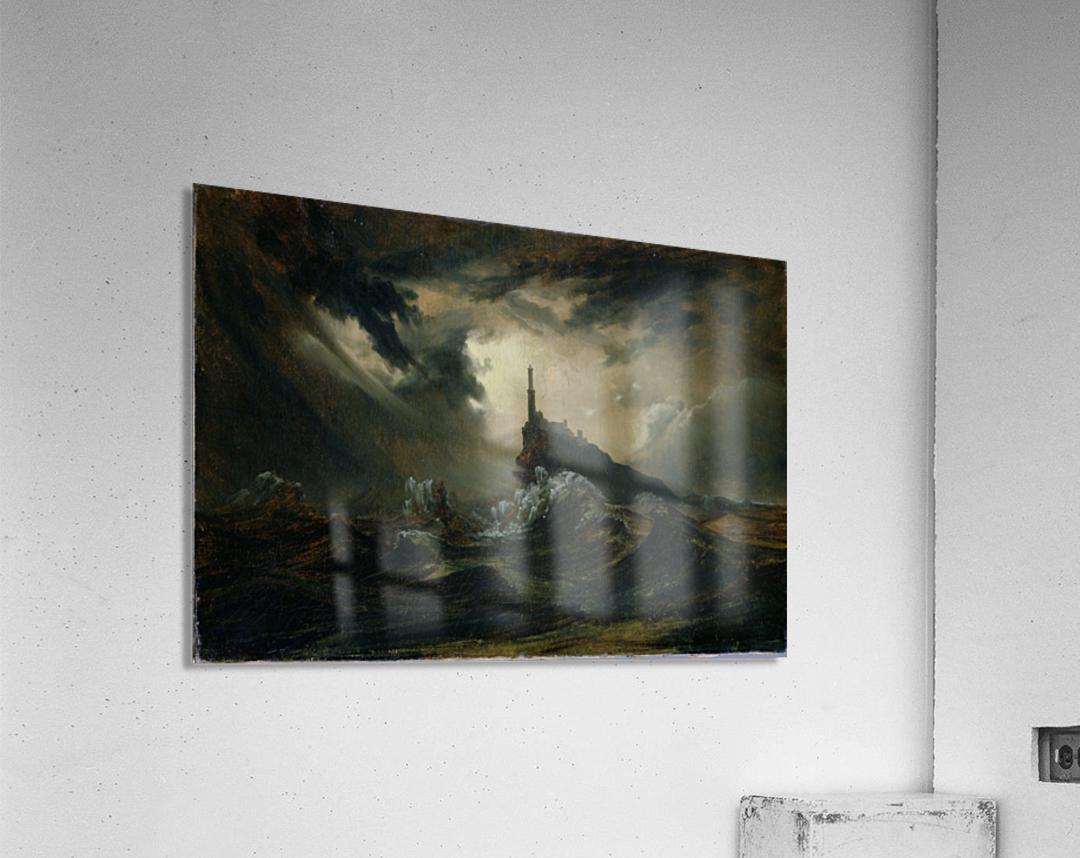 Sturmische See mit Leuchtturm  Impression acrylique