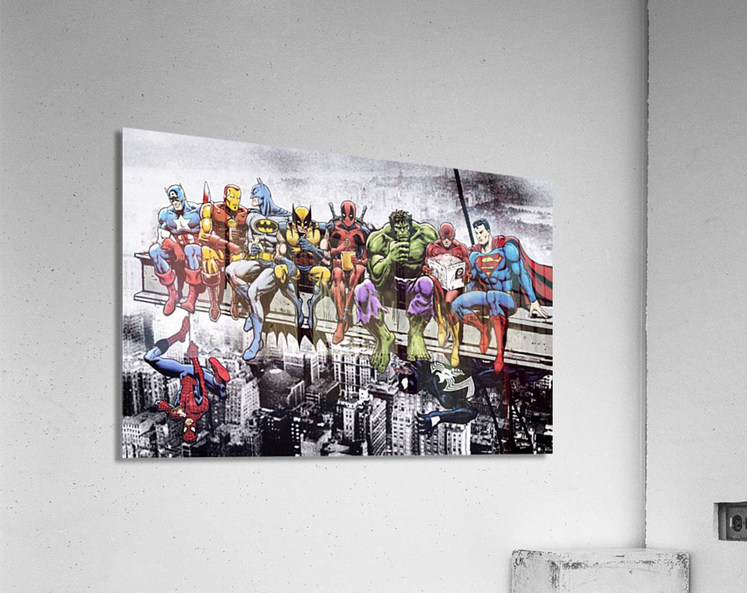 Marvel and DC Superheroes Lunch Atop A Skyscraper Featuring Captain America Iron Man Batman Wolverine Deadpool Hulk Flash & Superman  Acrylic Print