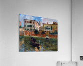 A gondola traveling along a canal in Venice  Impression acrylique