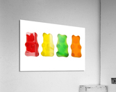 Colourful candied gummy bears in a row backlit; Calgary, Alberta, Canada  Acrylic Print