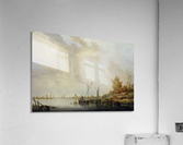 A River Scene with Distant Windmills  Acrylic Print
