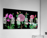 Camellia Orchid Lotus Flowers Watercolor On Black  Acrylic Print
