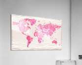 Pink Rose Petals Watercolor Map Of The World  Acrylic Print