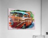 Classic Orange Car in Park Painting  Impression acrylique