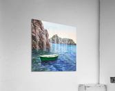 Green Boat Blue Sea Grotto Emeraldo Harbor   Acrylic Print
