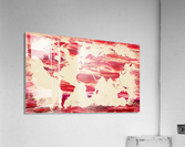 Watercolor Silhouette World Map Pink Terra  Acrylic Print