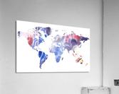 Watercolor Silhouette World Map Purple Blue  Acrylic Print
