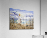 Girl Standing At The Ocean Watching Sailboat and Birds  Acrylic Print