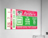 1969 New York Jets vs. Oakland Raiders Ticket Stub   Acrylic Print