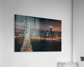 San Francisco Skyline at Night With The Bay Bridge  Acrylic Print