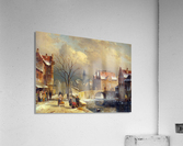 Winter villagers on a snowy street by a canal  Acrylic Print