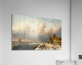 Winter landscape with figures and windmills  Acrylic Print