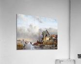 Townsfolk on lake during winter  Acrylic Print