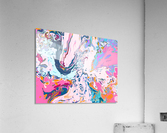 Baby Blue and Pink Paint Pour  Acrylic Print