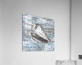 Silver Gray Seashell On Ocean Shore Waves And Rocks VIII  Acrylic Print