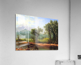 Wind River Mountains, landscape in Wyoming by Bierstadt  Acrylic Print