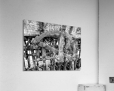 Antique Ploughing Machinery Black and White  Acrylic Print