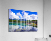 Brilliant Blue Skies over Lake Eibsee with Friederalm and Enningalm of the southern Ammergauer Alps in the Background  Acrylic Print