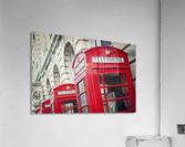 Telephone boxes in a row; Blackpool, Lancashire, England  Impression acrylique