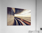 Long exposure while taking underground transportaion giving a time warp feel; Seattle, Washington, United States of America  Acrylic Print