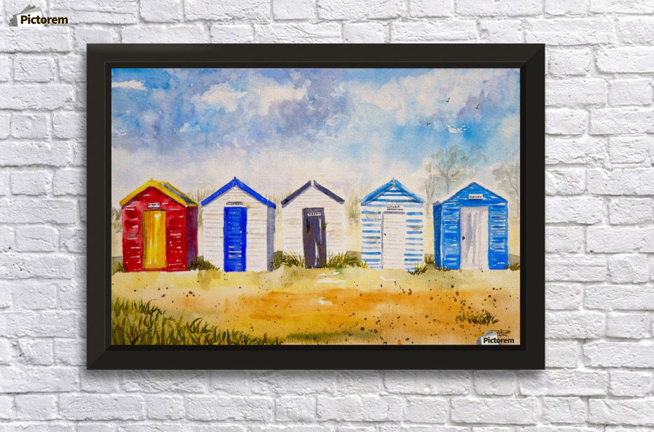 Beach Huts set of 3 canvas wall art framed prints wall decoration