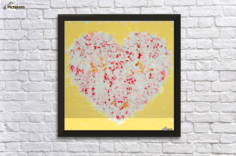 pink and red heart shape with yellow background - TimmyLA Canvas