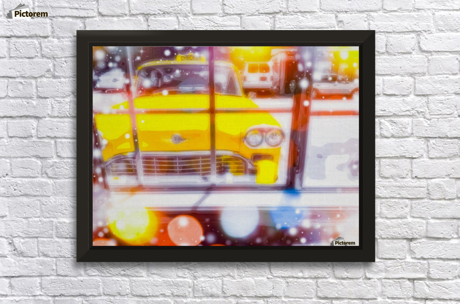 yellow classic taxi car with colorful bokeh light abstract ...