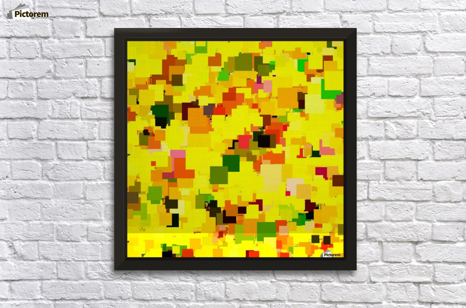 geometric square pattern pixel abstract background in yellow orange ...