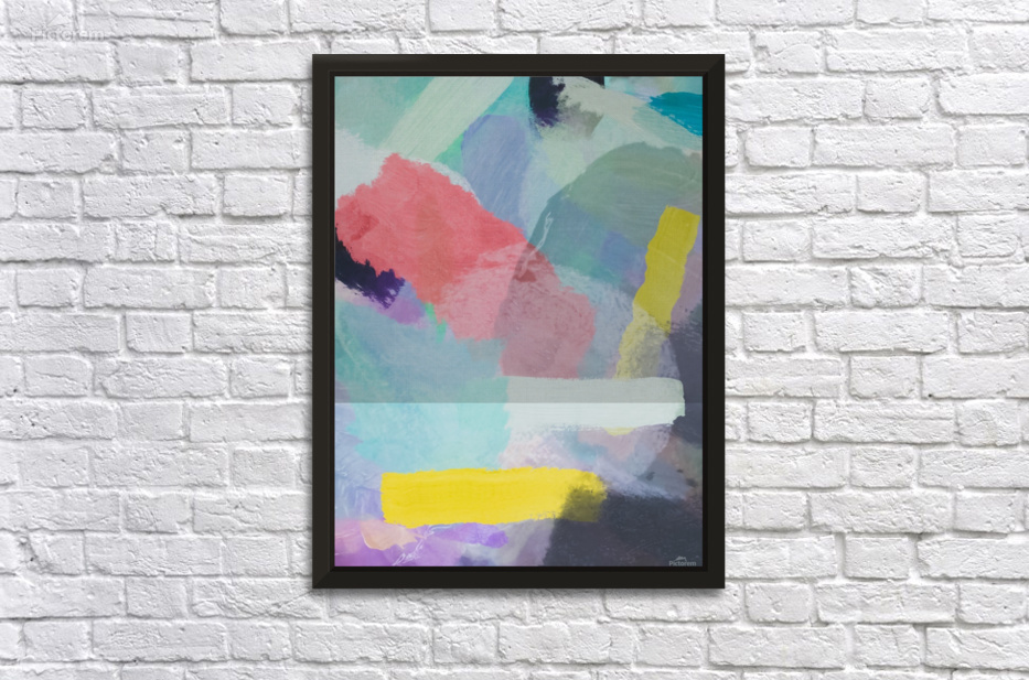 Brush Painting Texture Abstract Background In Pink Blue Yellow Wall Decor Frame