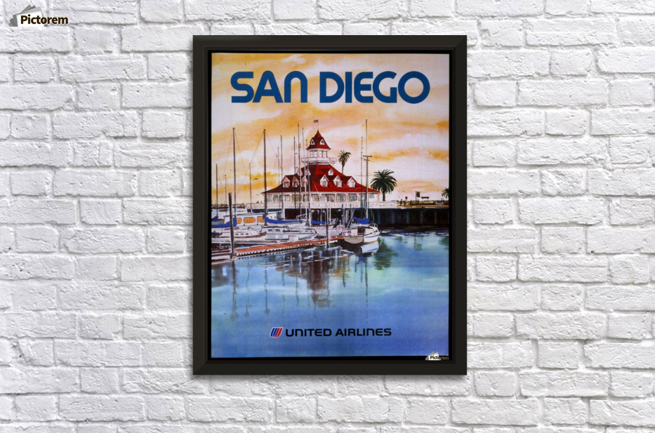 United Airlines San Diego travel poster - VINTAGE POSTER Canvas