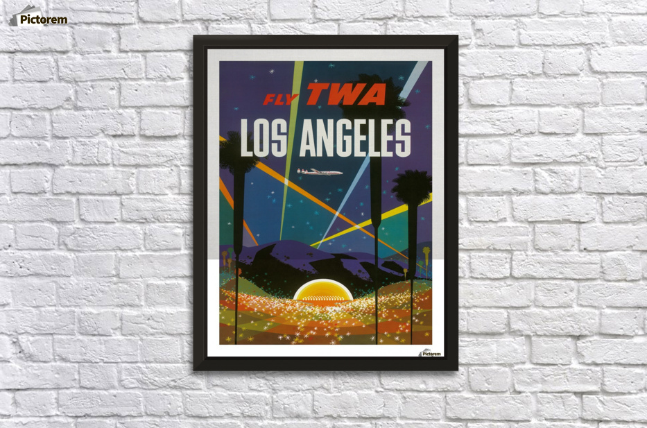 Fly TWA Los Angeles travel poster - VINTAGE POSTER Canvas