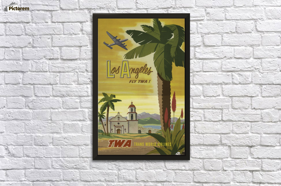 Los Angeles Fly TWA Vintage Travel Poster - VINTAGE POSTER Canvas