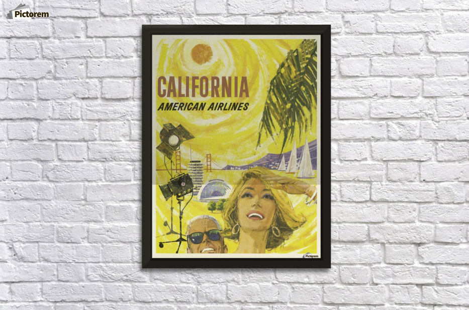 American Airlines California Vintage Travel Poster - VINTAGE POSTER ...