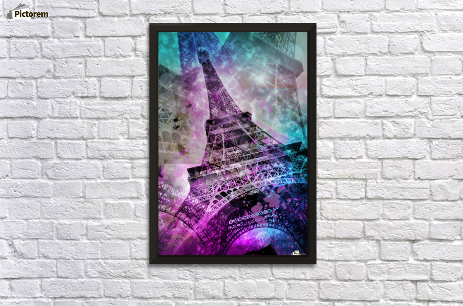 Pop art eiffel tower wall decor frame