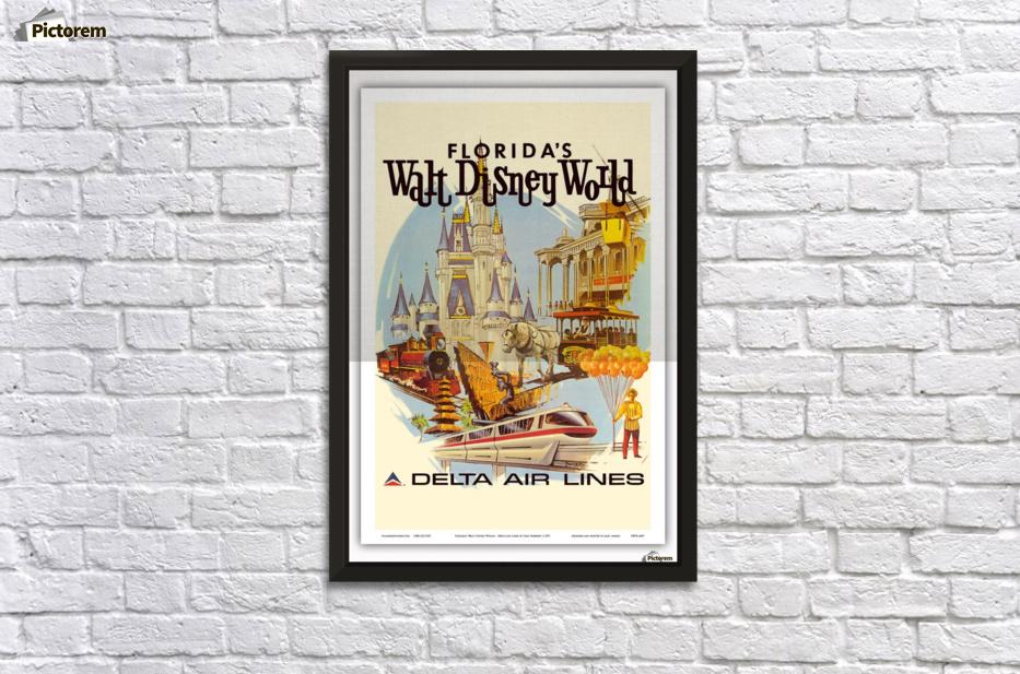 Florida Walt Disney World Delta Air Lines Poster - VINTAGE POSTER Canvas