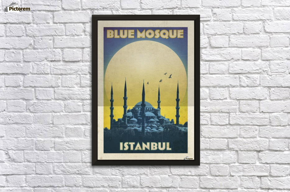 Turkey Blue Mosque Istanbul vintage travel poster - VINTAGE POSTER ...