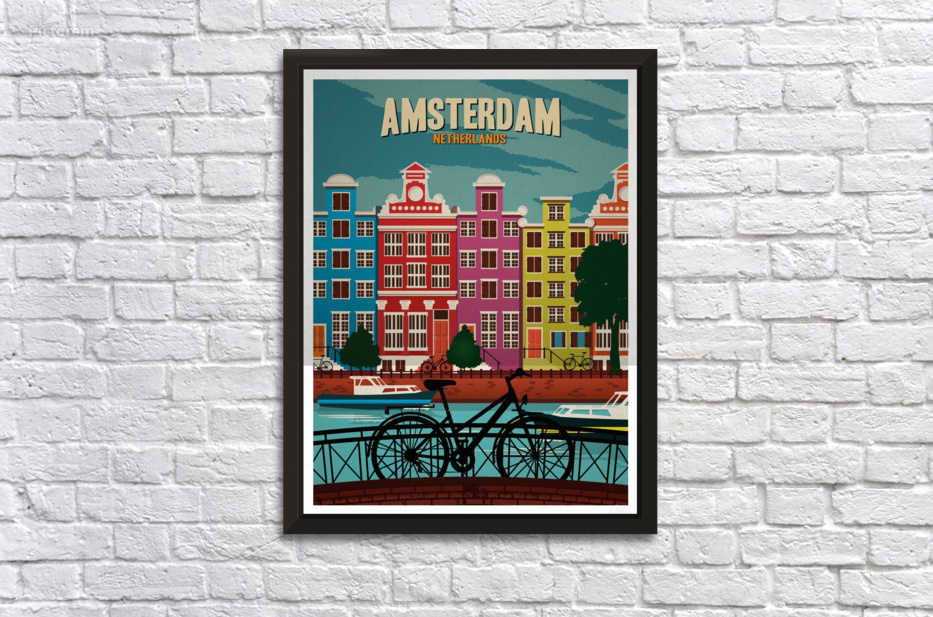 Amsterdam Netherlands Art Print travel poster - VINTAGE POSTER Canvas