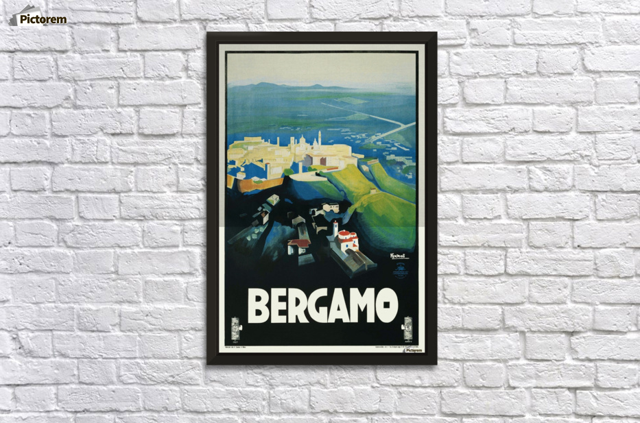 Bergamo Art Deco Vintage Italian Travel Poster - VINTAGE POSTER Canvas