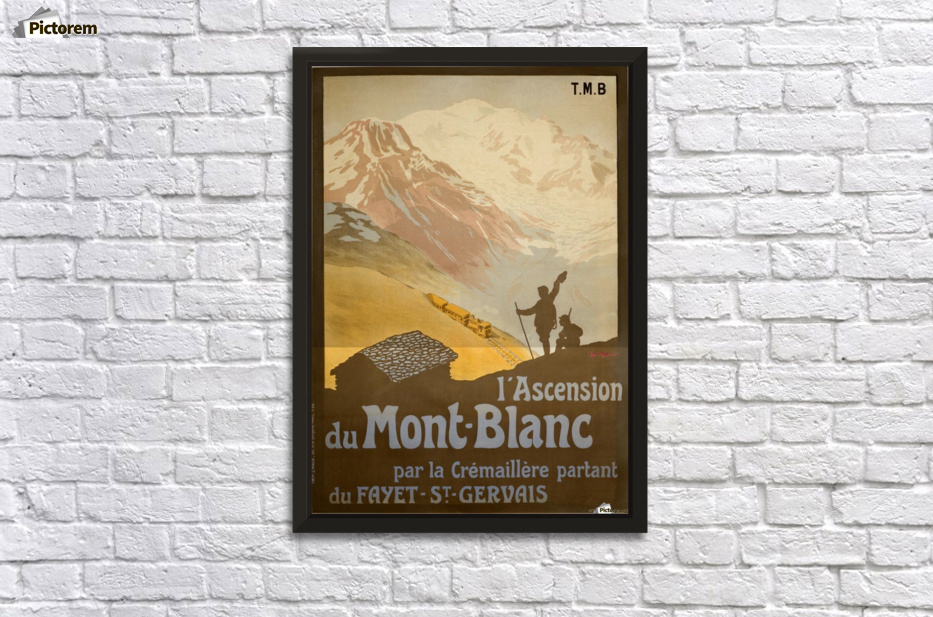 French Vintage Ski Poster for Mont-Blanc - VINTAGE POSTER Canvas
