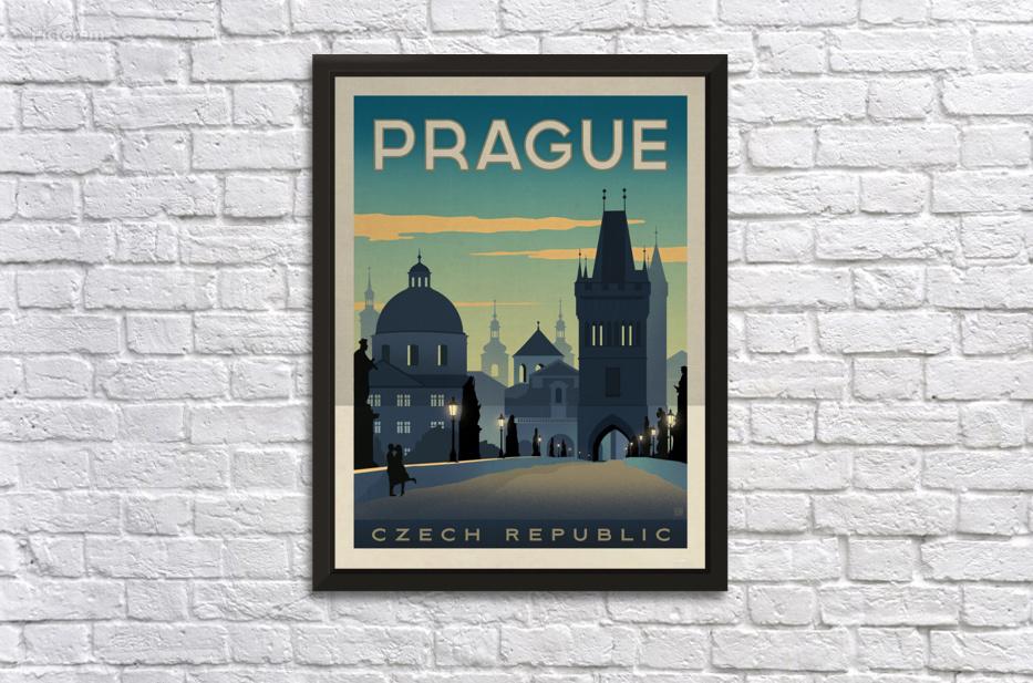 Prague vintage travel poster - VINTAGE POSTER Canvas