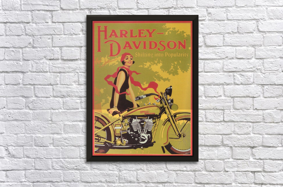 1929 Harley Davidson Shifting Into Popularity Wall Decor Frame