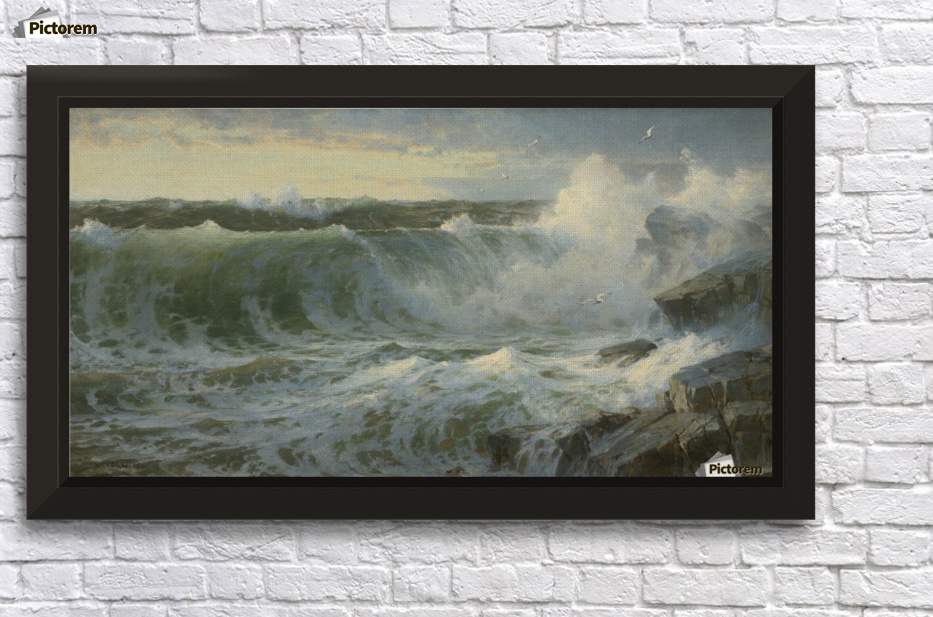 Rocky surf off Rhode Island - William Trost Richards Canvas