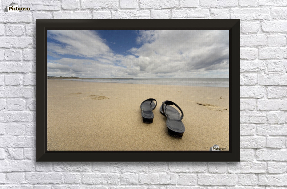 031cf58b10784 Stretched Canvas Print With Floating frame   Epoxy Varnish. Sandals On The  Beach Wall Decor Frame