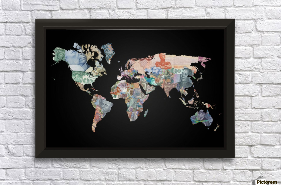 World map currencies worldflag canvas world map currencies wall decor frame gumiabroncs Gallery