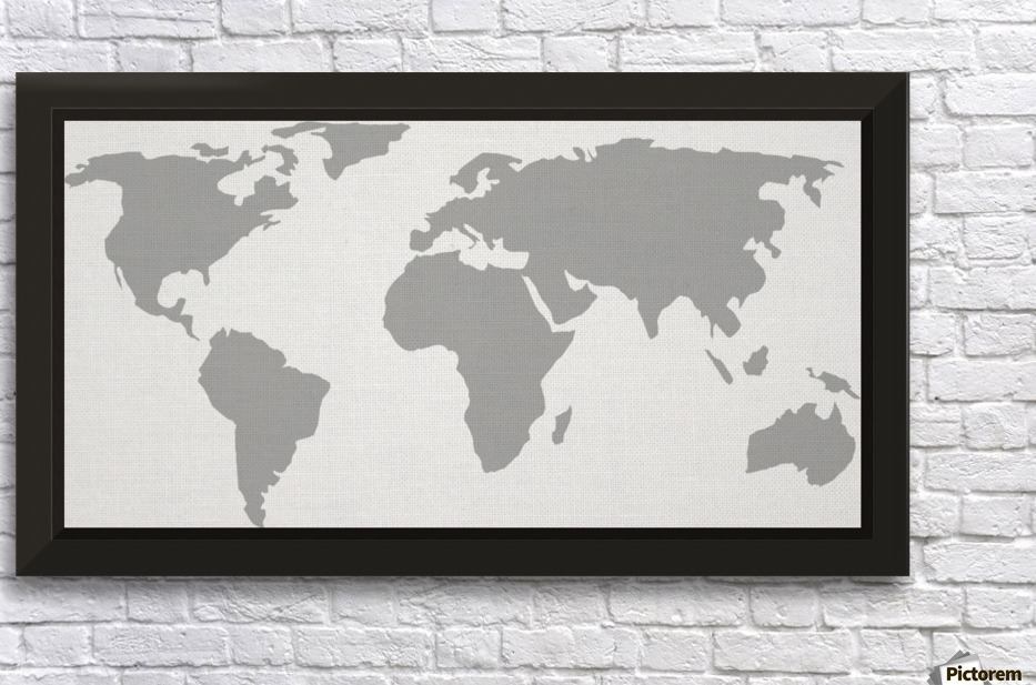World map grey style worldflag canvas world map grey style wall decor frame gumiabroncs Image collections