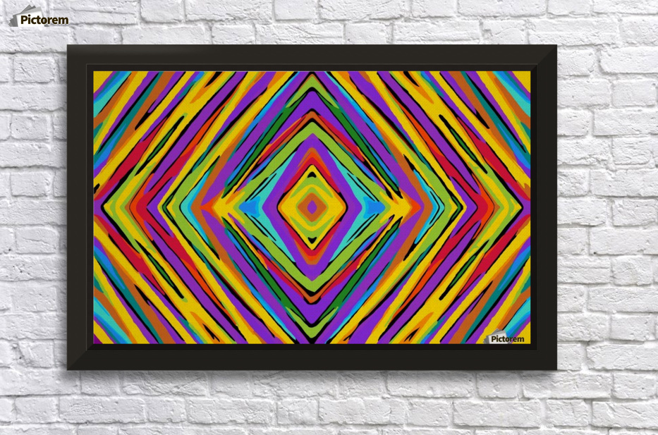 Psychedelic Geometric Graffiti Square Pattern Abstract In Blue Purple Pink Yellow Green Wall Decor Frame